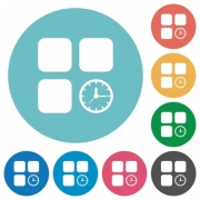 Component timer flat white icons on round color backgrounds - Component timer flat round icons