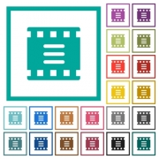 Movie options flat color icons with quadrant frames on white background - Movie options flat color icons with quadrant frames