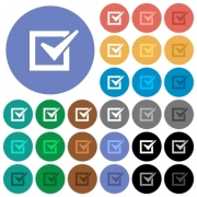 Checked box multi colored flat icons on round backgrounds. Included white, light and dark icon variations for hover and active status effects, and bonus shades on black backgounds. - Checked box round flat multi colored icons