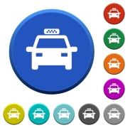 Taxi round color beveled buttons with smooth surfaces and flat white icons - Taxi beveled buttons