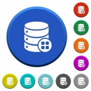 Database modules round color beveled buttons with smooth surfaces and flat white icons - Database modules beveled buttons