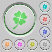Four leaf clover color icons on sunk push buttons - Four leaf clover push buttons