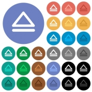 Media eject multi colored flat icons on round backgrounds. Included white, light and dark icon variations for hover and active status effects, and bonus shades on black backgounds. - Media eject round flat multi colored icons