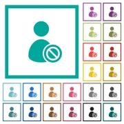 Ban user flat color icons with quadrant frames on white background - Ban user flat color icons with quadrant frames