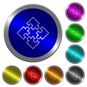 Puzzle pieces icons on round luminous coin-like color steel buttons - Puzzle pieces luminous coin-like round color buttons