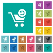 Undo last cart operation multi colored flat icons on plain square backgrounds. Included white and darker icon variations for hover or active effects. - Undo last cart operation square flat multi colored icons
