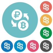 Ruble Bitcoin money exchange flat white icons on round color backgrounds - Ruble Bitcoin money exchange flat round icons
