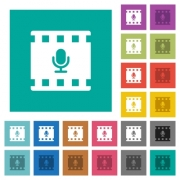 Movie voice multi colored flat icons on plain square backgrounds. Included white and darker icon variations for hover or active effects. - Movie voice square flat multi colored icons