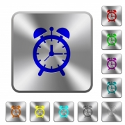 Alarm clock engraved icons on rounded square glossy steel buttons - Alarm clock rounded square steel buttons
