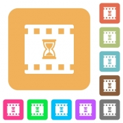 Movie processing flat icons on rounded square vivid color backgrounds. - Movie processing rounded square flat icons