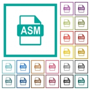 ASM file format flat color icons with quadrant frames on white background - ASM file format flat color icons with quadrant frames