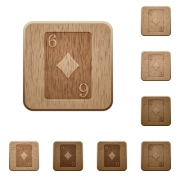 Six of diamonds card on rounded square carved wooden button styles - Six of diamonds card wooden buttons
