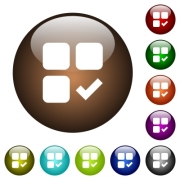 Component ok white icons on round color glass buttons - Component ok color glass buttons