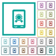 Mobile certification flat color icons with quadrant frames on white background - Mobile certification flat color icons with quadrant frames