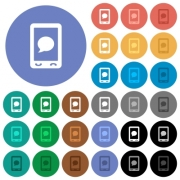 Mobile sms message multi colored flat icons on round backgrounds. Included white, light and dark icon variations for hover and active status effects, and bonus shades on black backgounds. - Mobile sms message round flat multi colored icons