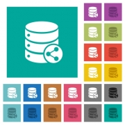 Database table relations multi colored flat icons on plain square backgrounds. Included white and darker icon variations for hover or active effects. - Database table relations square flat multi colored icons