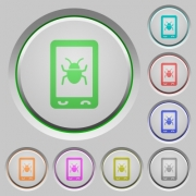 Malicious mobile software color icons on sunk push buttons - Malicious mobile software push buttons