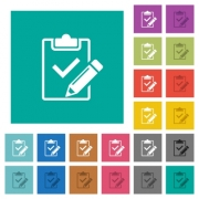 Fill out checklist multi colored flat icons on plain square backgrounds. Included white and darker icon variations for hover or active effects. - Fill out checklist square flat multi colored icons