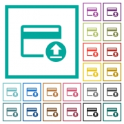 Credit card money deposit flat color icons with quadrant frames on white background - Credit card money deposit flat color icons with quadrant frames