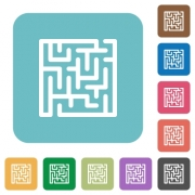 Labyrinth white flat icons on color rounded square backgrounds - Labyrinth rounded square flat icons