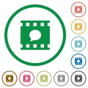 Comment movie flat color icons in round outlines on white background - Comment movie flat icons with outlines