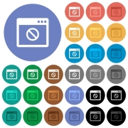 Disabled application multi colored flat icons on round backgrounds. Included white, light and dark icon variations for hover and active status effects, and bonus shades on black backgounds. - Disabled application round flat multi colored icons