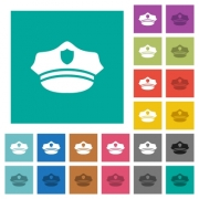Police hat multi colored flat icons on plain square backgrounds. Included white and darker icon variations for hover or active effects. - Police hat square flat multi colored icons