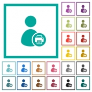Print user account flat color icons with quadrant frames on white background - Print user account flat color icons with quadrant frames