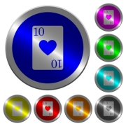 Ten of hearts card icons on round luminous coin-like color steel buttons