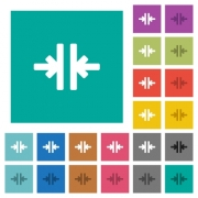 Vertical merge tool multi colored flat icons on plain square backgrounds. Included white and darker icon variations for hover or active effects. - Vertical merge tool square flat multi colored icons