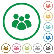 Team flat color icons in round outlines on white background - Team flat icons with outlines - Large thumbnail