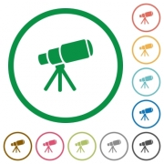 Space telescope flat color icons in round outlines on white background - Space telescope flat icons with outlines - Large thumbnail