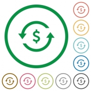 Dollar pay back flat color icons in round outlines on white background - Dollar pay back flat icons with outlines - Large thumbnail