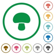 Mushroom flat color icons in round outlines on white background - Mushroom flat icons with outlines