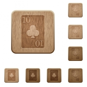 Ten of clubs card on rounded square carved wooden button styles - Ten of clubs card wooden buttons