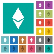 Ethereum digital cryptocurrency multi colored flat icons on plain square backgrounds. Included white and darker icon variations for hover or active effects. - Ethereum digital cryptocurrency square flat multi colored icons