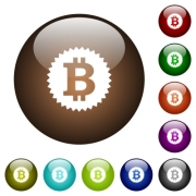 Bitcoin sticker white icons on round color glass buttons - Bitcoin sticker color glass buttons
