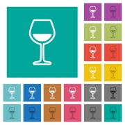 Glass of wine multi colored flat icons on plain square backgrounds. Included white and darker icon variations for hover or active effects. - Glass of wine square flat multi colored icons