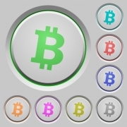 Bitcoin digital cryptocurrency color icons on sunk push buttons - Bitcoin digital cryptocurrency push buttons