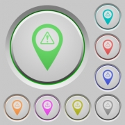 GPS map location warning color icons on sunk push buttons - GPS map location warning push buttons