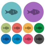 Fish darker flat icons on color round background - Fish color darker flat icons - Large thumbnail