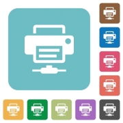 Network printer white flat icons on color rounded square backgrounds - Network printer rounded square flat icons