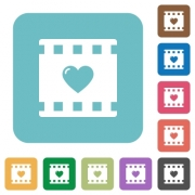 Favorite movie white flat icons on color rounded square backgrounds - Favorite movie rounded square flat icons