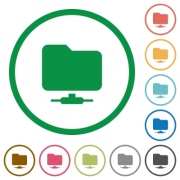 Network folder flat color icons in round outlines on white background - Network folder flat icons with outlines