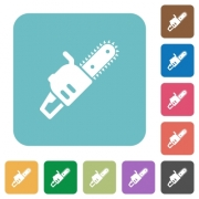 Chainsaw white flat icons on color rounded square backgrounds - Chainsaw rounded square flat icons