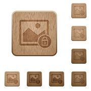 Lock image on rounded square carved wooden button styles - Lock image wooden buttons