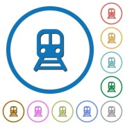 Train flat color vector icons with shadows in round outlines on white background - Train icons with shadows and outlines