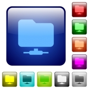 Network folder icons in rounded square color glossy button set - Network folder color square buttons