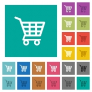 Shopping cart multi colored flat icons on plain square backgrounds. Included white and darker icon variations for hover or active effects. - Shopping cart square flat multi colored icons