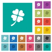 Four leaf clover multi colored flat icons on plain square backgrounds. Included white and darker icon variations for hover or active effects. - Four leaf clover square flat multi colored icons
